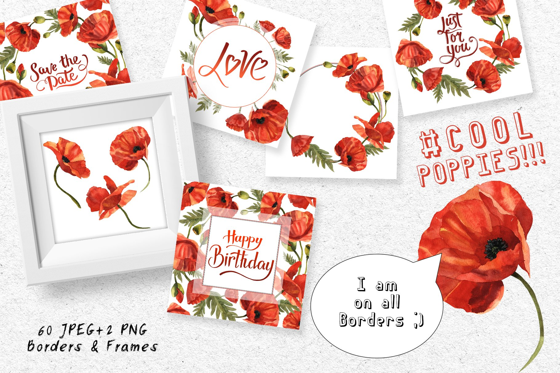 Cool Poppies PNG Watercolor Set - cover 2 1