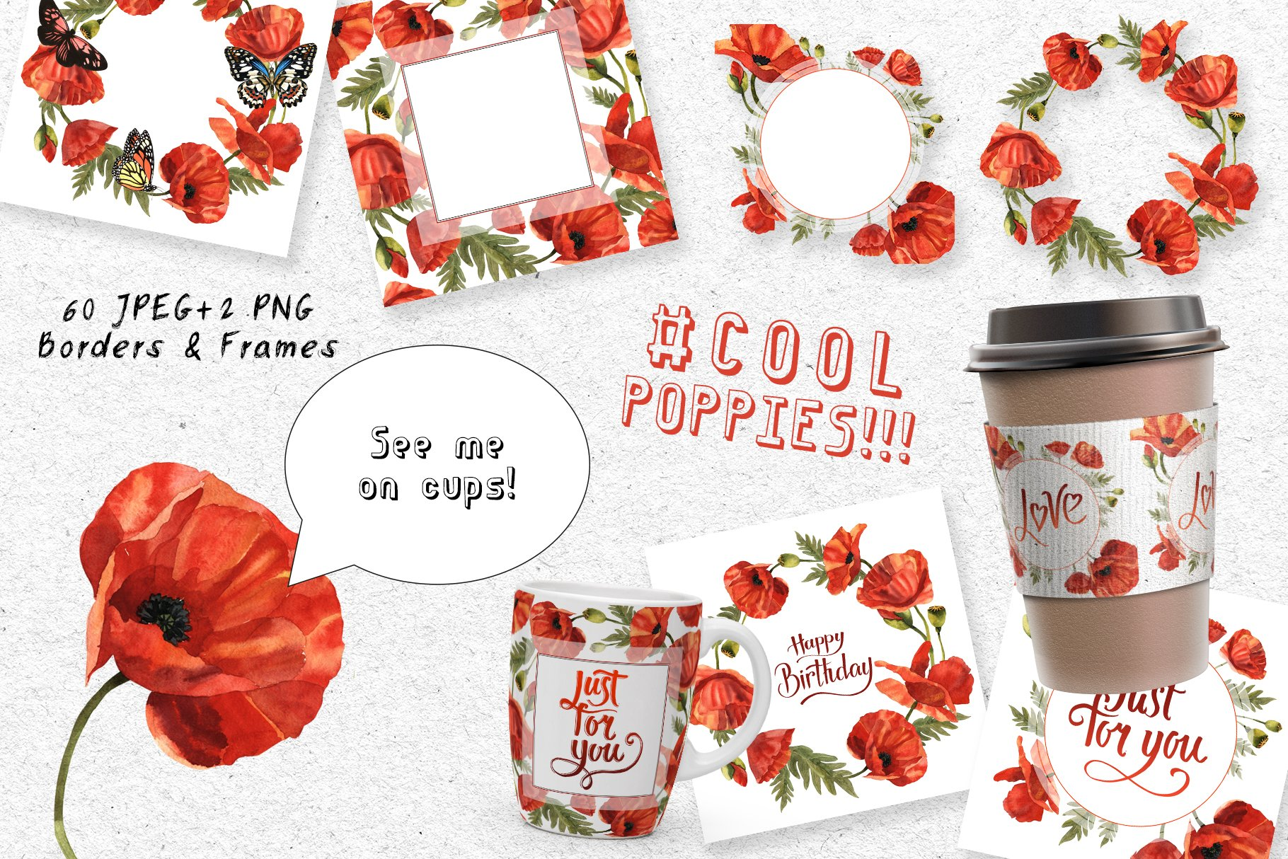 Cool Poppies PNG Watercolor Set - cover 4 1