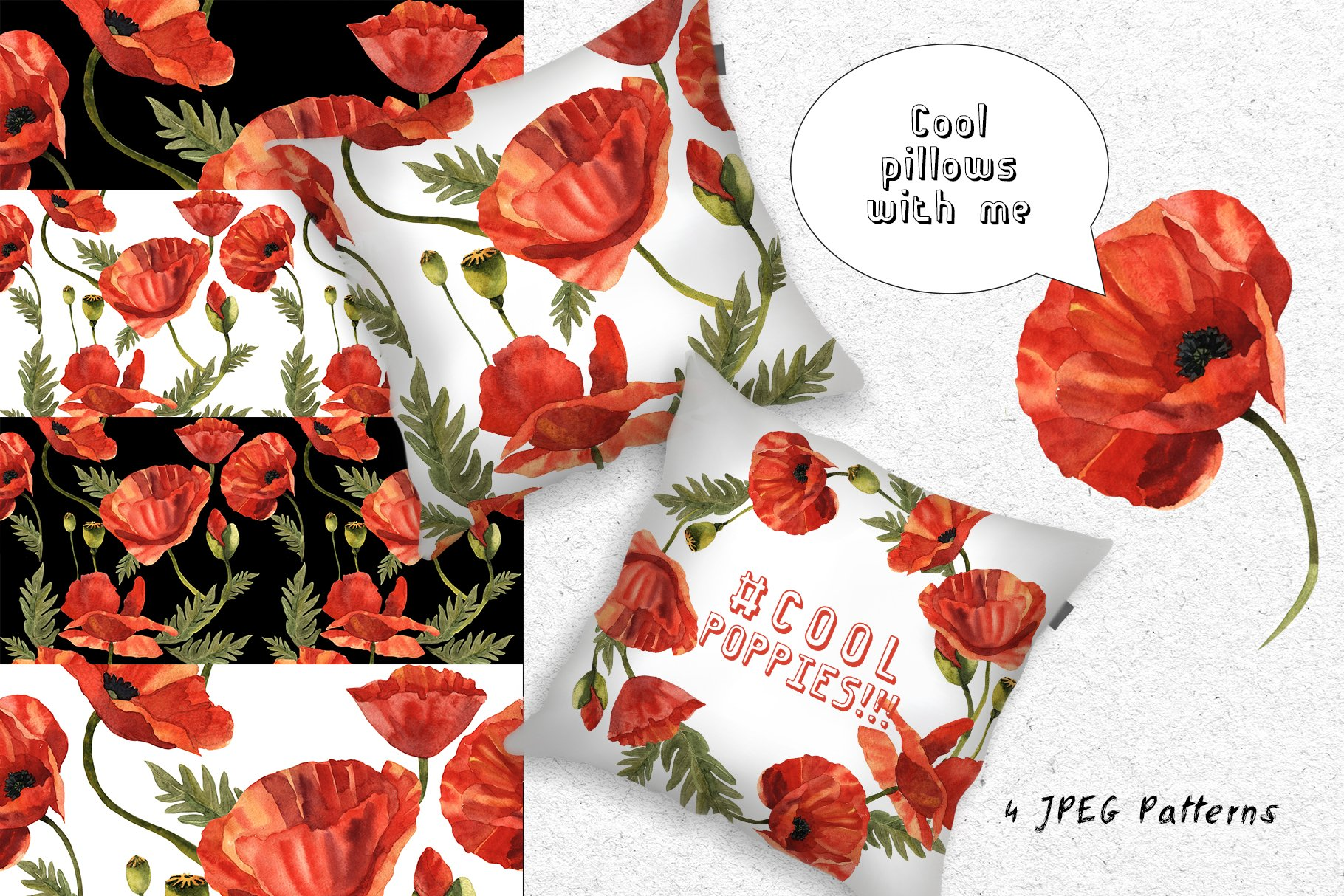 Cool Poppies PNG Watercolor Set - cover 5