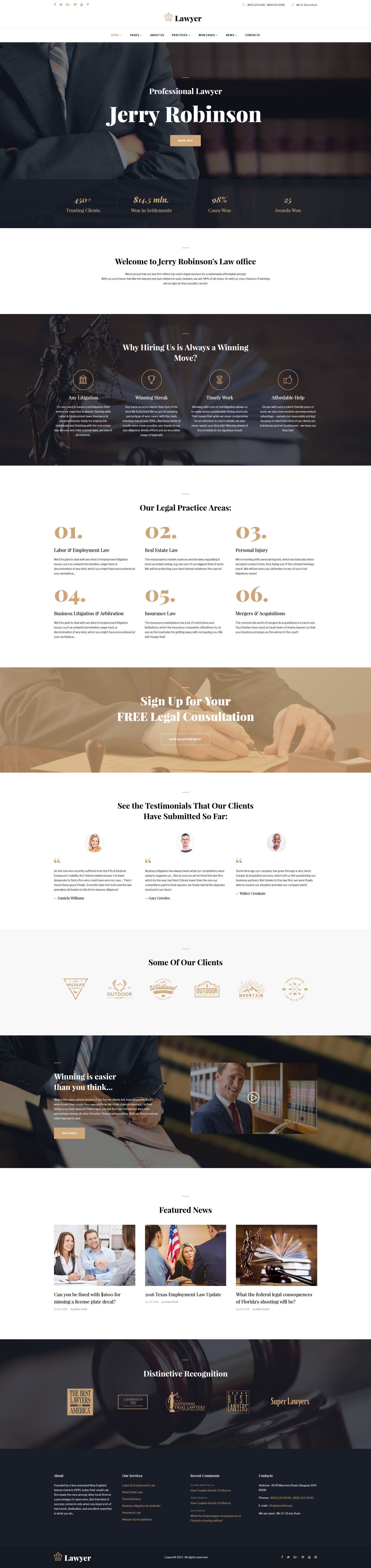 10 HTML Website Themes - $19 - lawyer attorney multipage website template 62274 original