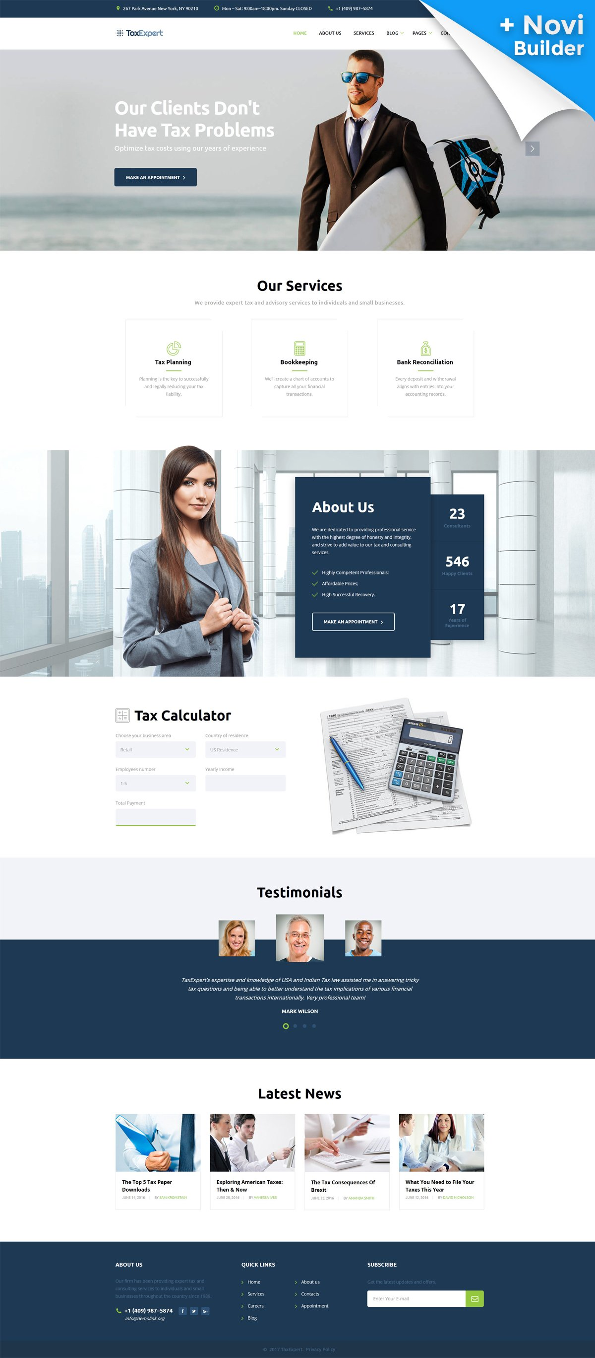 10 HTML Website Themes - $19 - tax advisor financial consultant website template 61343 original