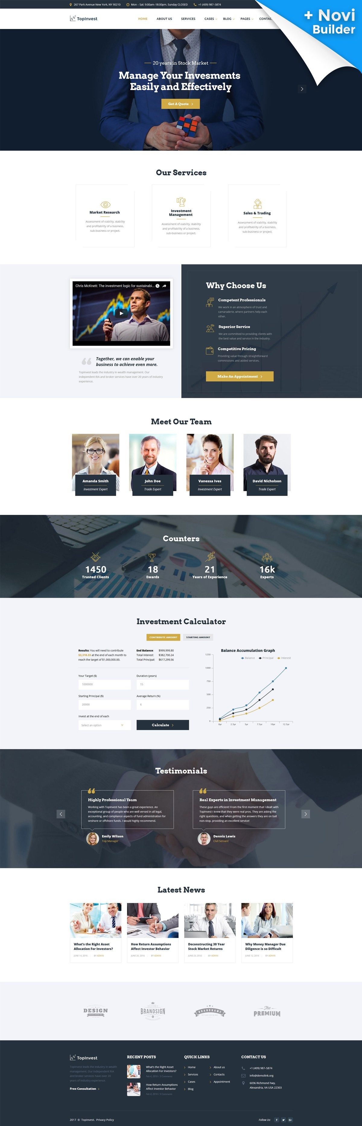 10 HTML Website Themes - $19 - topinvest investment company responsive multipage website template 61344 original