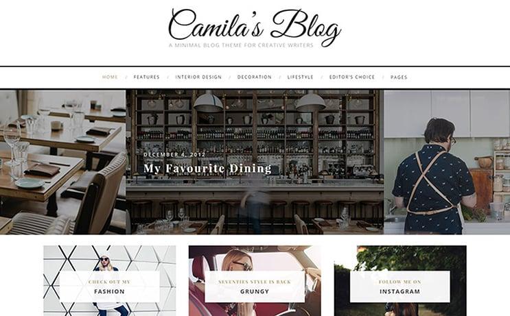 Camila – Minimal Blog WordPress Theme