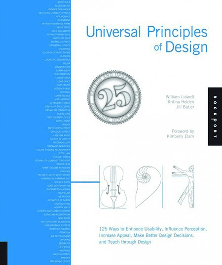 Universal Principles of Design: 100 Ways to Enhance Usability, Influence Perception, Increase Appeal, Make Better Design Decisions, and Teach Through Design by William Lidwell, Jill Butler, Kritina Holden. Cover Collage.