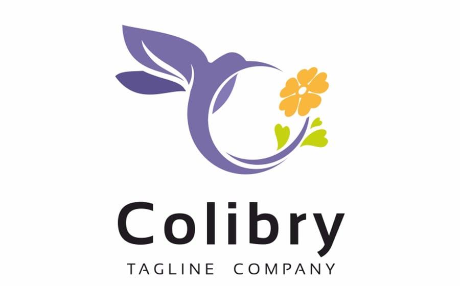 Colibri Beauty Flower Logo Template