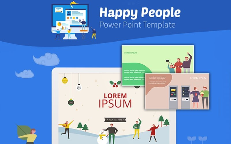 Happy People Infographic PowerPoint Template