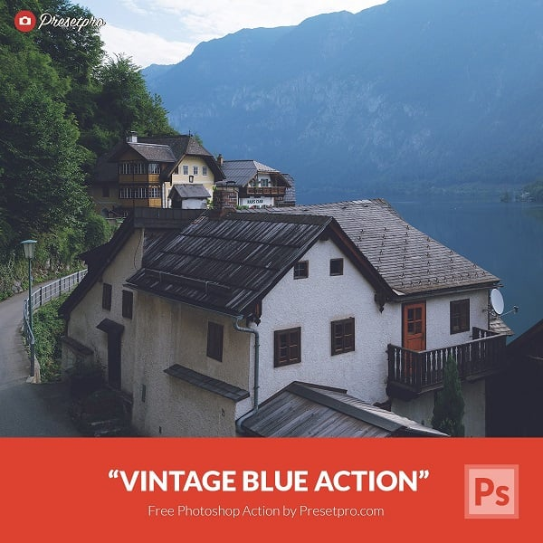 Free Photoshop Action Vintage Blue