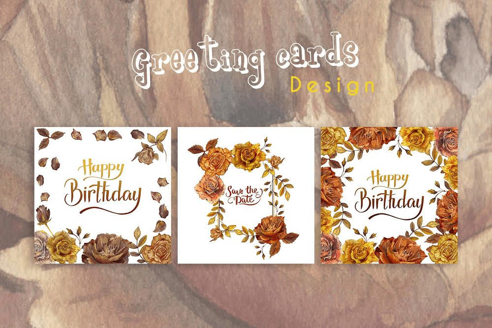 Autumn Roses PNG Watercolor Set