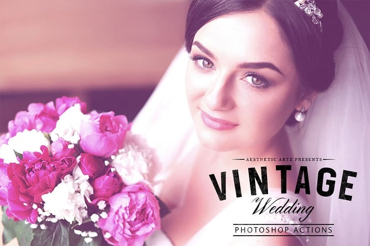 Free Aesthetic Vintage Wedding PS Action