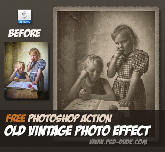 Old Vintage Photo Effect Photoshop Free Action