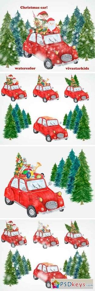 150+ Free Christmas Graphics: Fonts, Images, Vectors, Patterns & Premium Bundles - 7 watercolor christmas clipart items