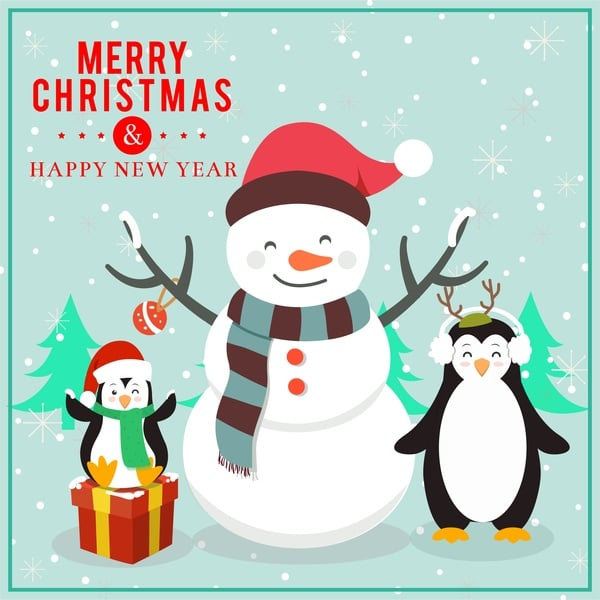 150+ Free Christmas Graphics: Fonts, Images, Vectors, Patterns & Premium Bundles - christmas card design with funny penguins and snowman