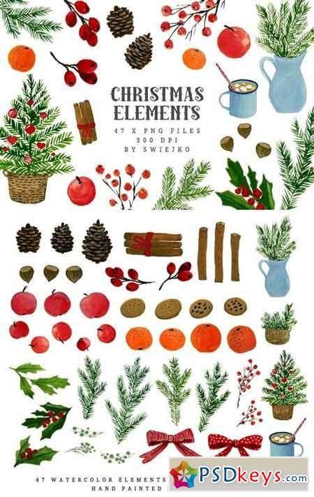 150+ Free Christmas Graphics: Fonts, Images, Vectors, Patterns & Premium Bundles - watercolor christmas clipart
