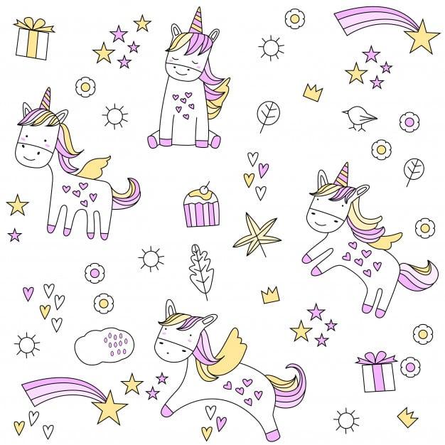 Cute baby unicorn seamless pattern