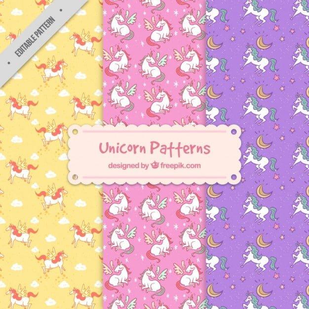 <br /> Different unicorn patterns