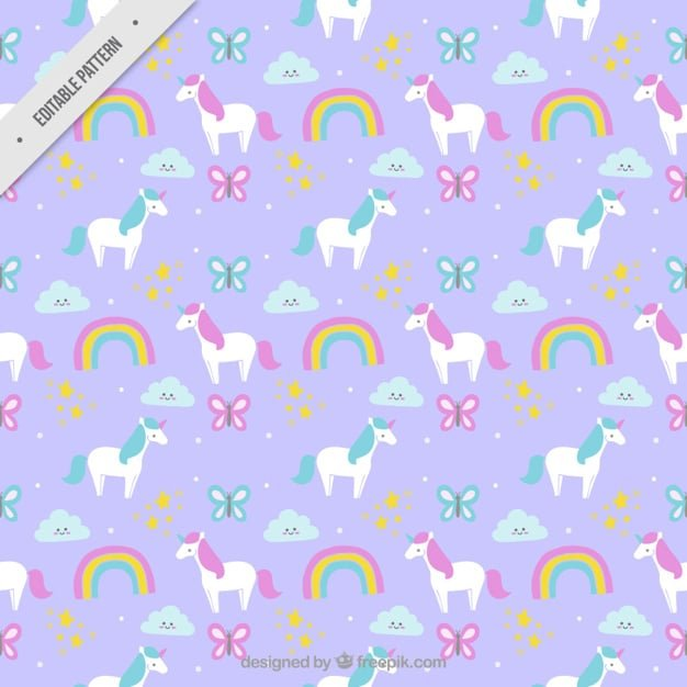 Hand drawn beautuful unicorns with rainbows and butterflies pattern