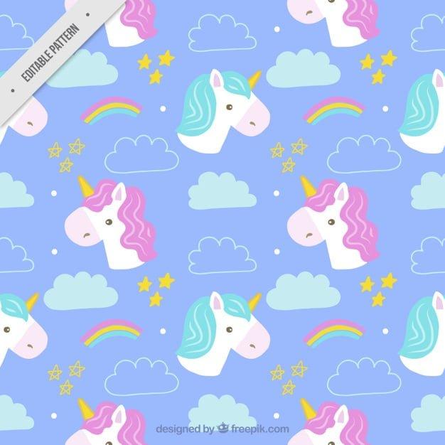Hand drawn cute unicorns patterns