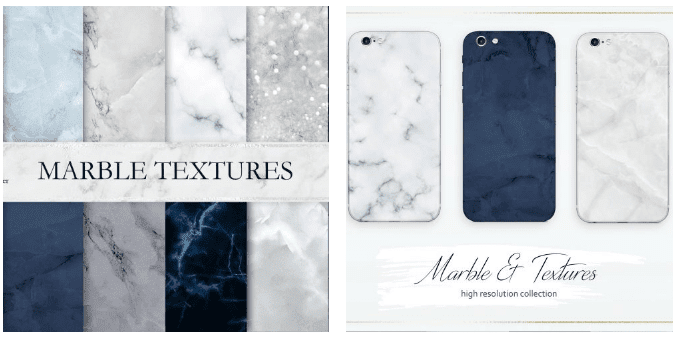 Marble backgrounds in cold shades: white, blue, gray.