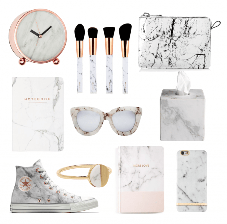 Watches, brushes, notebooks, glasses, napkin holder, ring, sneakers, phone case with marble prints.