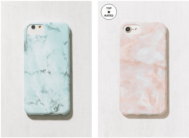 Marble marine and pink phone cases.