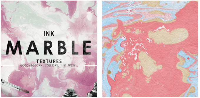Ink marble texture dominated by dark pink and pink with grayish-white and blue blotchiness.