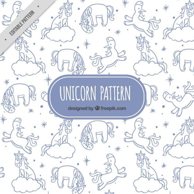 Hand drawn elements and unicorns pattern