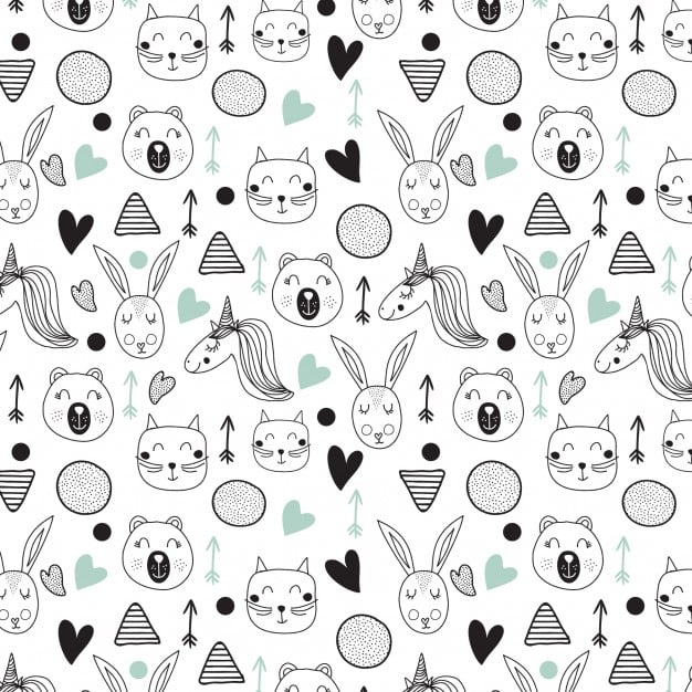 Lovely sketches of unicorns pattern
