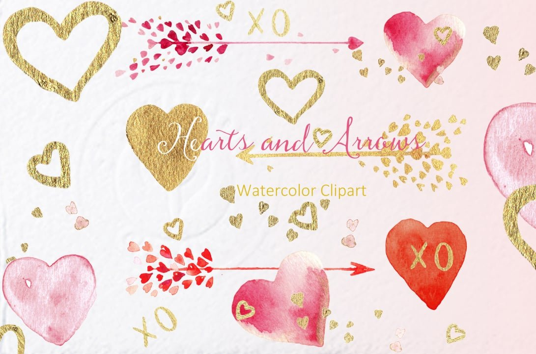 Hearts and  Arrows Valentines Clipart - $10 - CM1hapetis