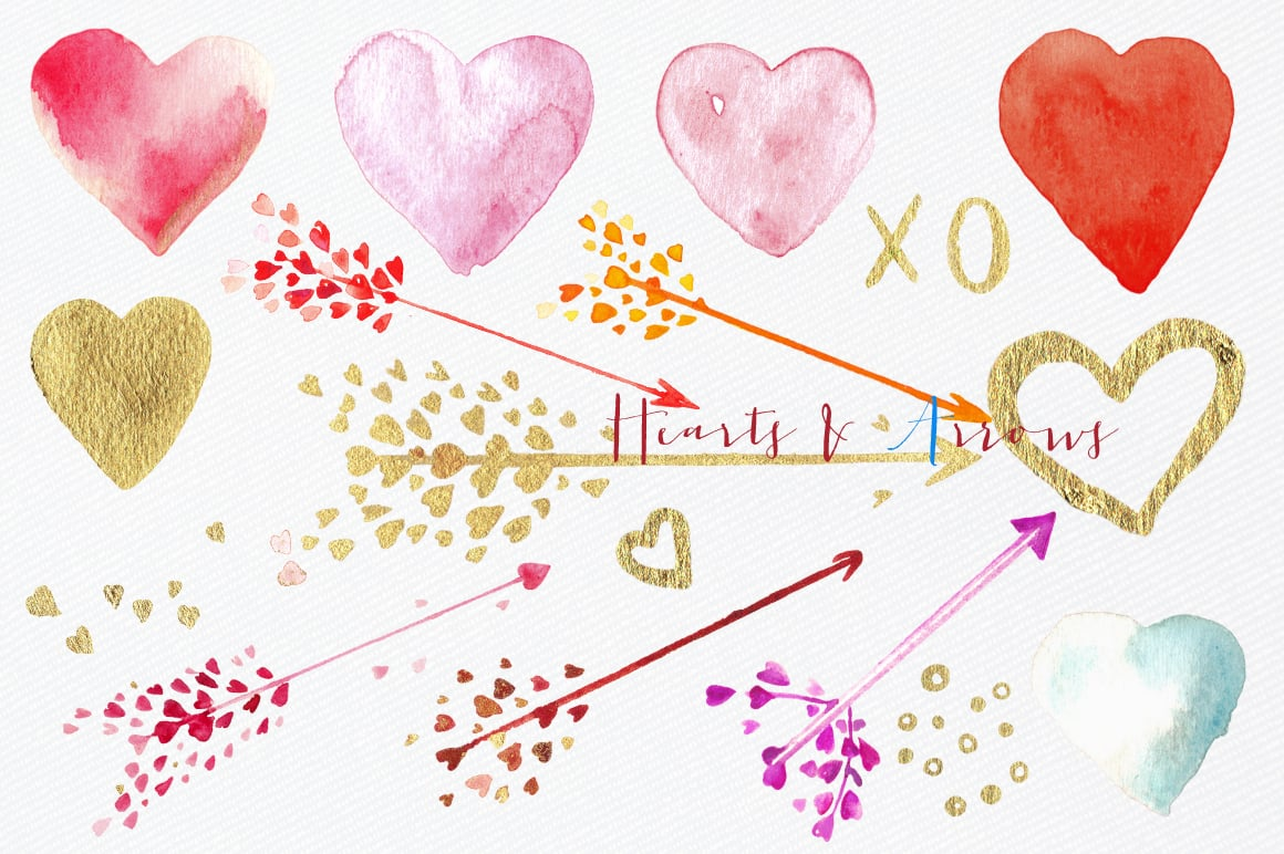 Hearts and  Arrows Valentines Clipart - $10 - Cm elemets