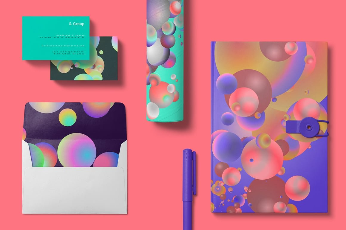 Holographic Pastel & Neon Spheres - Pen2