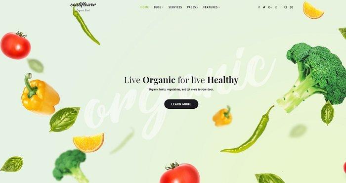 Cauliflower - Organic Food Blog Elementor WordPress Theme