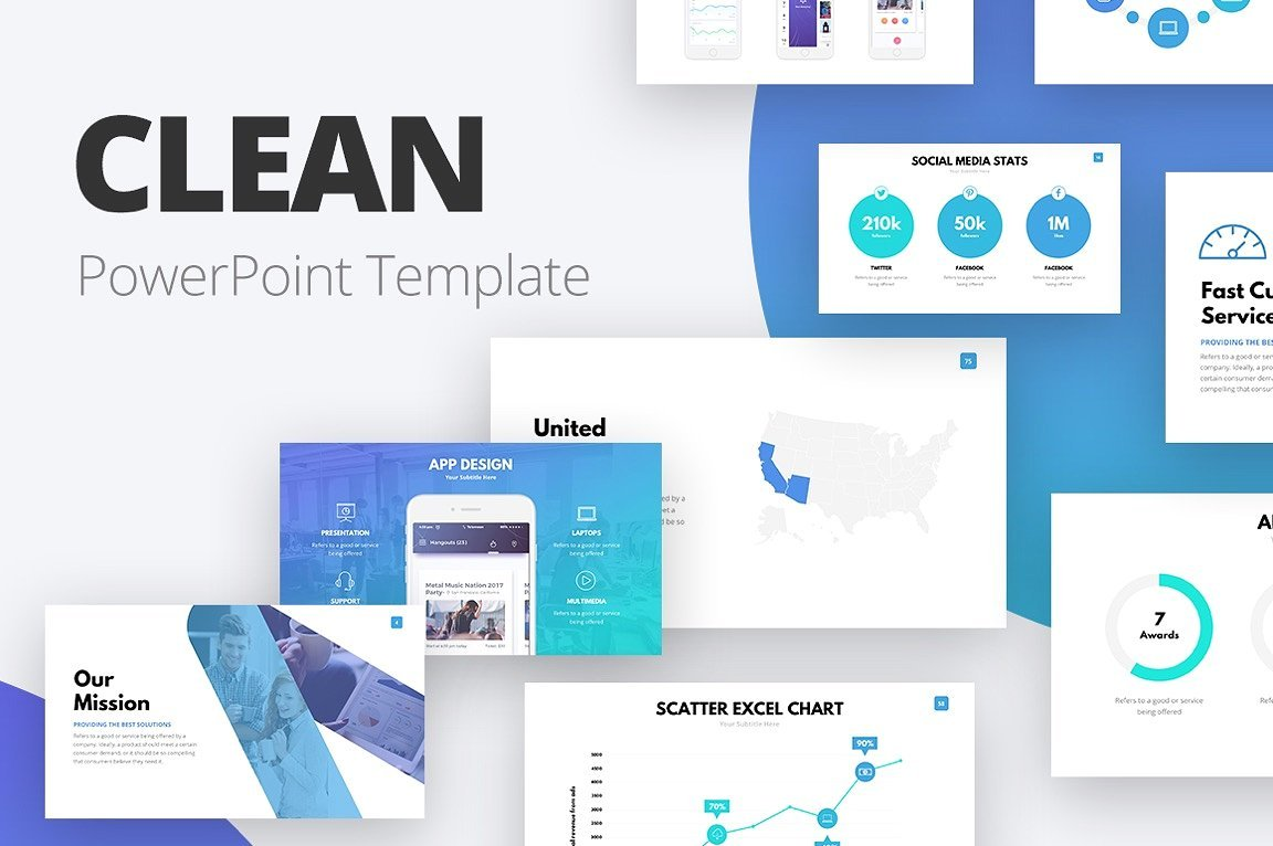 50 Creative PowerPoint Templates in 2020: Free And Premium. Best Creative Presentation Ideas - clean presentation cover v2