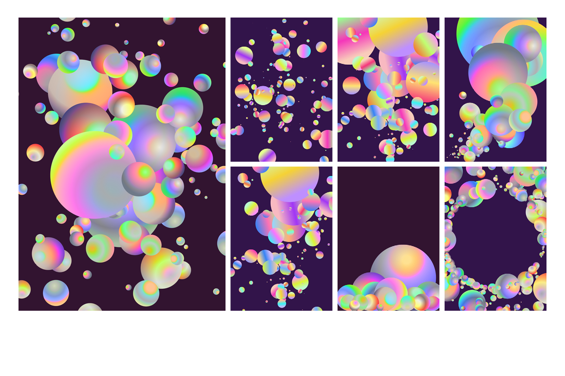Holographic Pastel & Neon Spheres - holographicBallsADS 1
