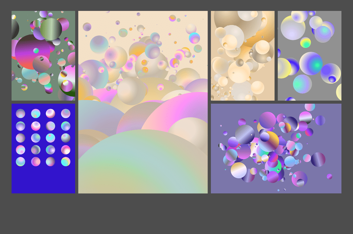 Holographic Pastel & Neon Spheres - holographicBallsADS10