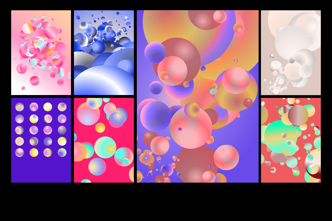 Holographic Pastel & Neon Spheres - holographicBallsADS13