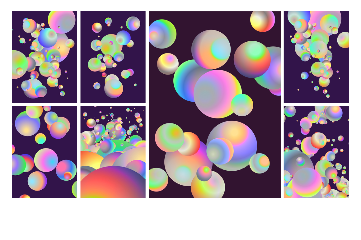 Holographic Pastel & Neon Spheres - holographicBallsADS2 1
