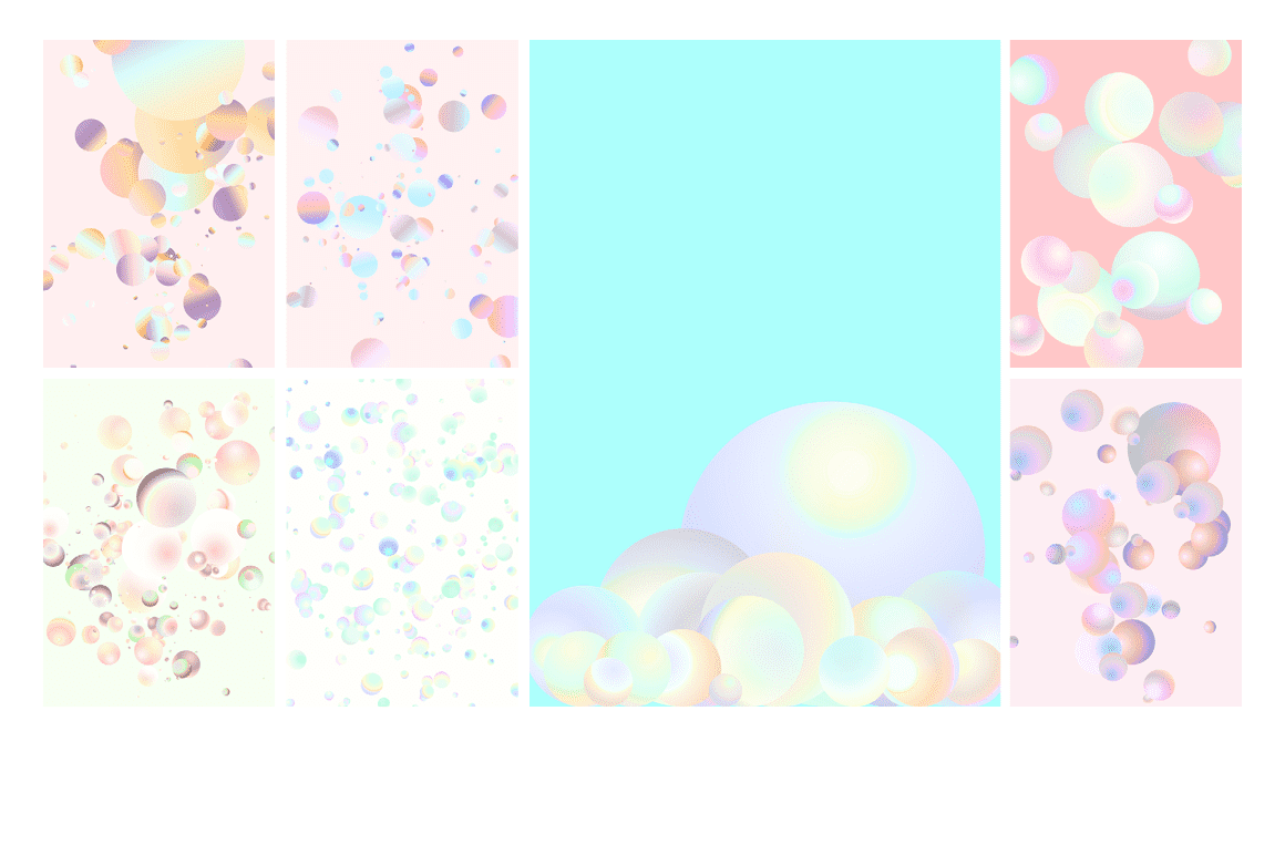 Holographic Pastel & Neon Spheres - holographicBallsADS2