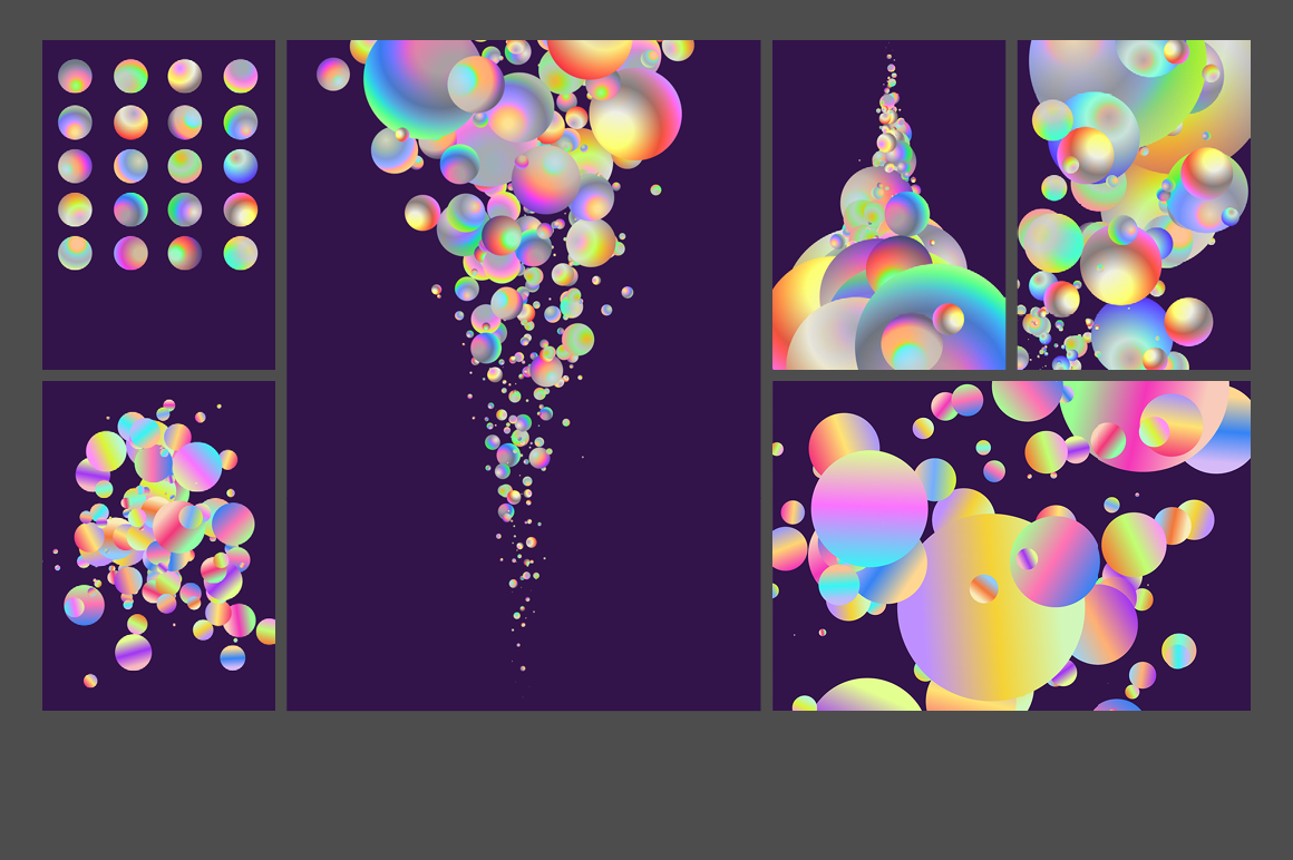 Holographic Pastel & Neon Spheres - holographicBallsADS3 1