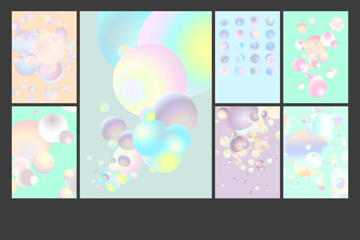 Holographic Pastel & Neon Spheres - holographicBallsADS3