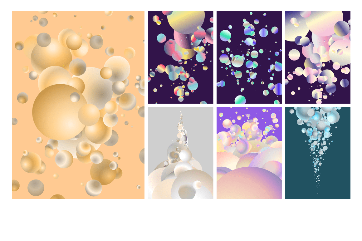 Holographic Pastel & Neon Spheres - holographicBallsADS4 1