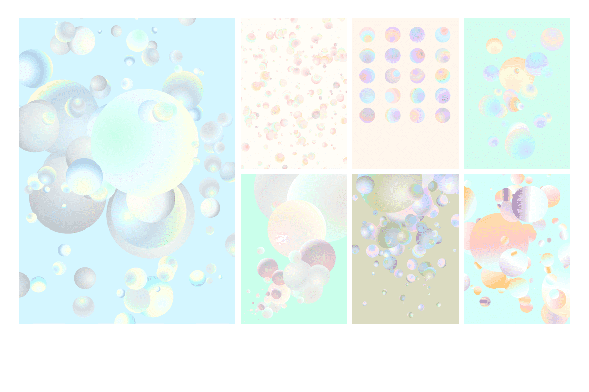 Holographic Pastel & Neon Spheres - holographicBallsADS4