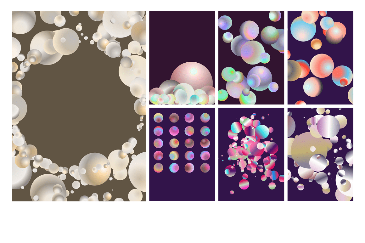 Holographic Pastel & Neon Spheres - holographicBallsADS5 1