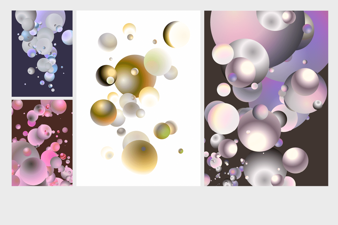 Holographic Pastel & Neon Spheres - holographicBallsADS7 1