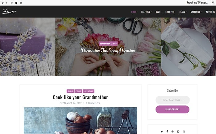 Laura – A Feminine WordPress Blog Theme