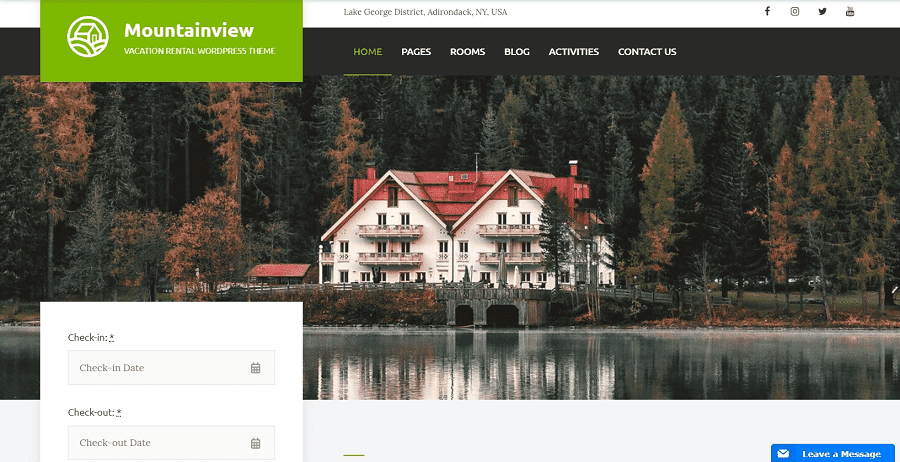 55+ Best Hotel WordPress Themes 2021 That Make The Difference - mountainview