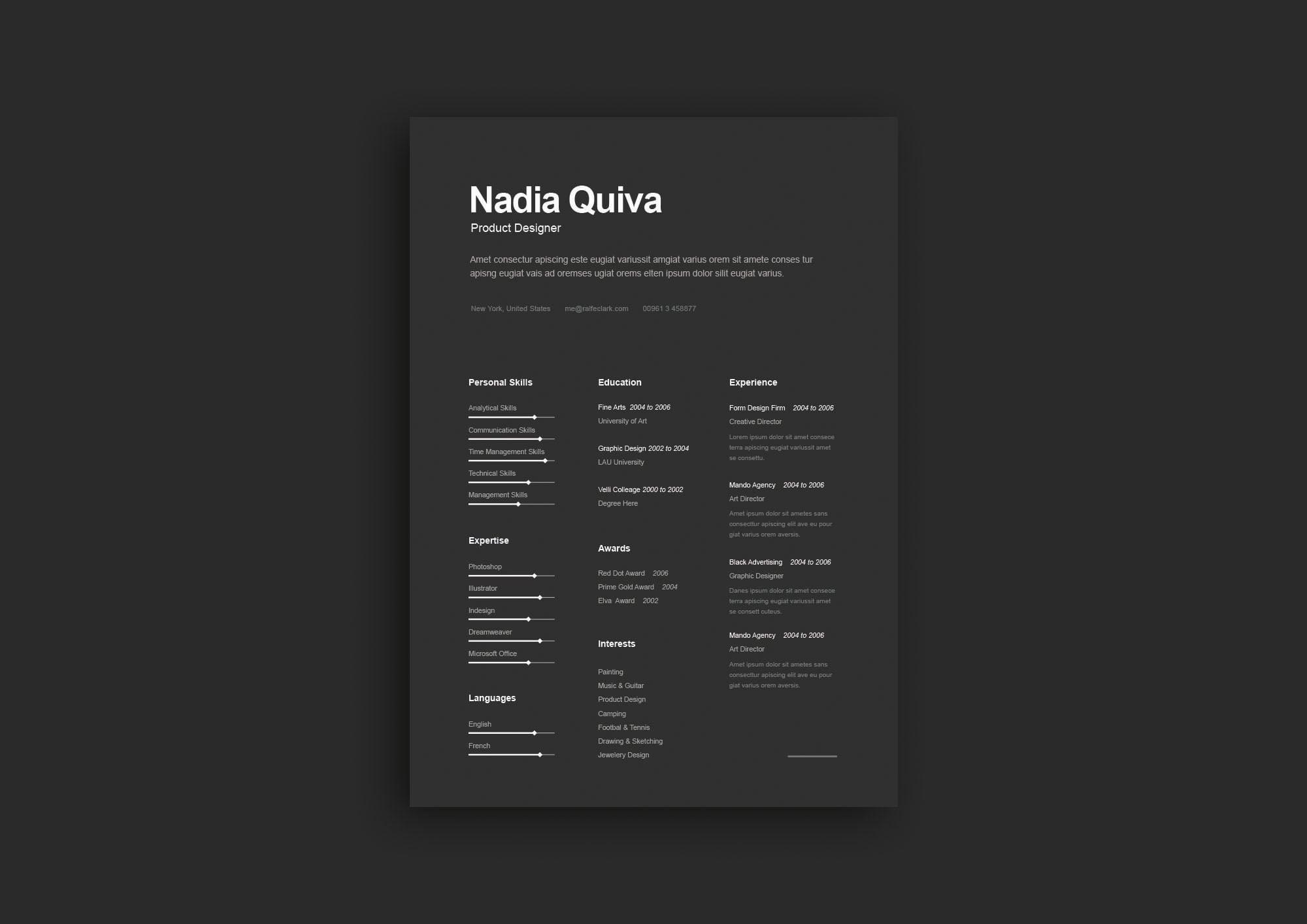 Simple A4 Dark Resume Template