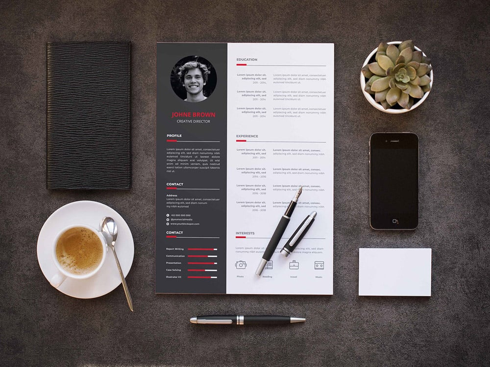 Resume Templates (Free) Red and Black
