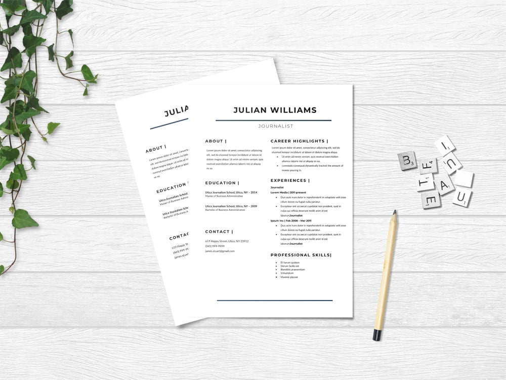 Resume template for Journalists