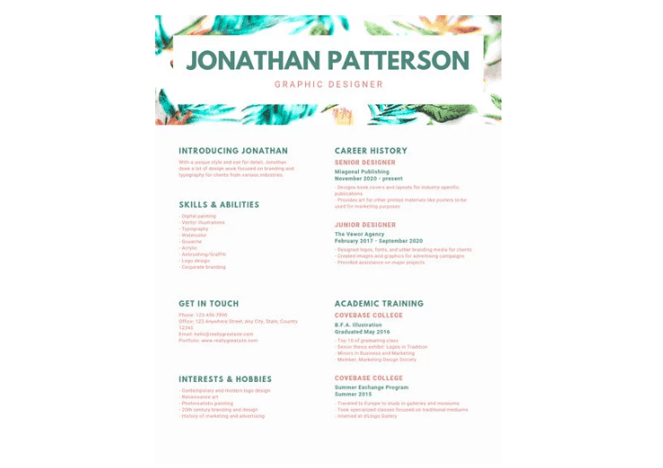 reen Header Graphic Design Resume
