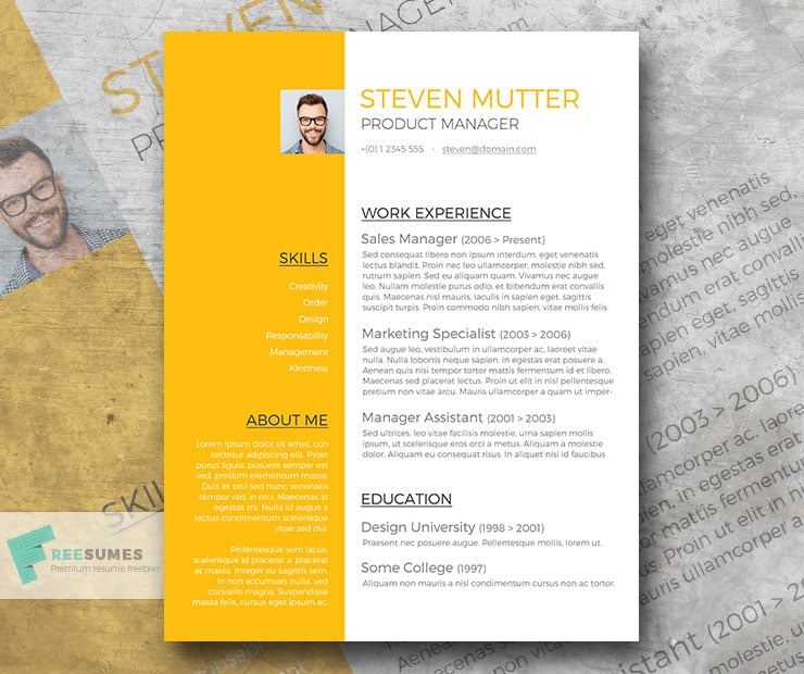 Free Resume Template: Shiny Amber
